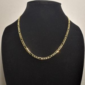 Real gold plated 925 sterling silver figaro chain